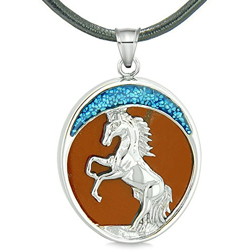 (Courage Horse Wild Moon Mustang Magic Protection Powers Amulet Red Jasper Pendant Leather Necklace)