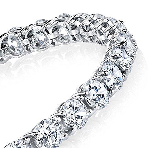925 Sterling Silver 5mm Traditional Classic Brilliant Cut Round Cubic Zirconia Diamond Tennis Bracelet