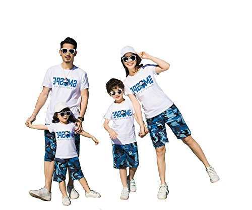 Family Matching Clothes Outfits Mommy & Me Dad & Baby Parent-Child T-Shirt Pants Sets (Dad A, M) by Elufly