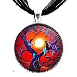 Halloween Jewelry Black Cat Necklace Raven Crow Pendant Orange Moss Spooky Tree Moon Pagan Wiccan
