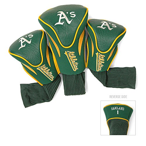 (Team Golf MLB Oakland Athletics Contour Golf Club Headcovers (3 Count), Numbered 1, 3, & X, Fits Oversized Drivers, Utility, Rescue & Fairway Clubs, Velour lined for Extra Club Protection)