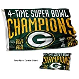 Cheap WinCraft Green Bay Packers Double Sided 4 Time Super Bowl Champions Flag