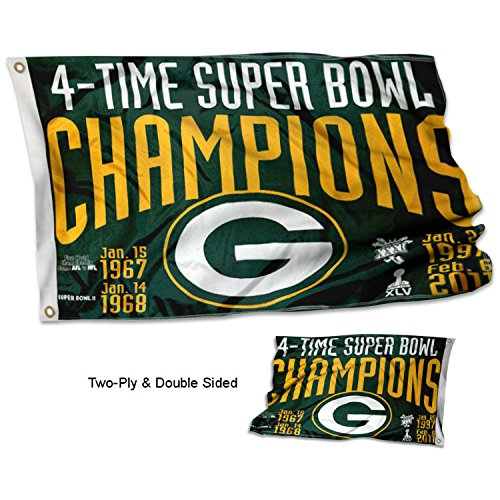 WinCraft Green Bay Packers Double Sided 4 Time Super Bowl Champions Flag