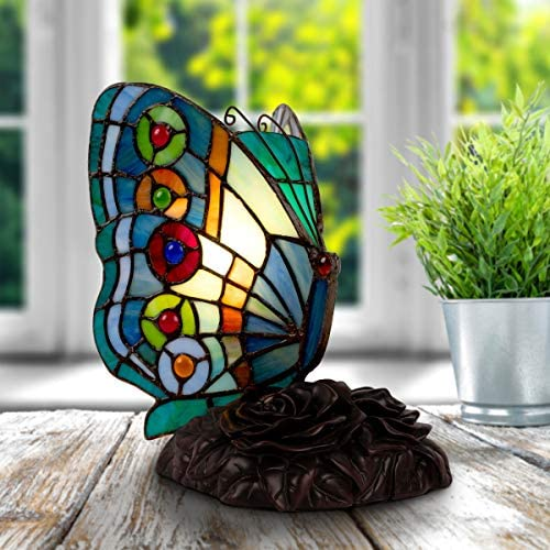 Home Lavish Tiffany Style Butterfly Lamp-Stained Glass Table or Desk Light LED Bulb Included-Vintage Look Colorful Accent Decor Pointed Wings