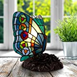Home Lavish Tiffany Style Butterfly Lamp-Stained Glass Table or Desk Light LED Bulb Included-Vintage Look Colorful Accent Decor (Rounded Wings)