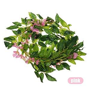 thanksky DIY Craft Green Leaves Wedding Decoration Hanging Garland Fake Ivy Vine Foliage Trailing Flower Wisteria Plant Artificial Flowers 37