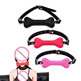 Mouth Plug 20Mm Cute Solid Leather Harness Mouth Silicone Dog Bone Ball Gag BDSM #E015C# Pink