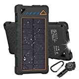 Hobest Solar Charger 10000mAh,Waterproof Outdoor Solar Power Bank with LED Flashlight,Dual USB Portable Charger Solar for Smartphones,GoPro Camera,GPS and Emergency Travel (Orange)