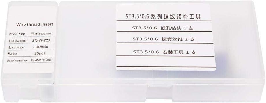 20Pcs M3.5 /× 0.6 Jeu de R/éparation de Filetage de Vis Kit dInstallation dInsert de Filetage en Acier Inoxydable de Type Helicoil