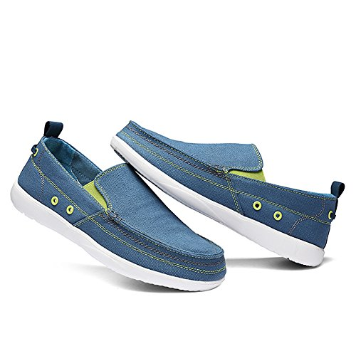 Loafers Blue Shoe Sneakers on Loafer Slip Slip Walking Flat Canvas Boat Non Deck Denim Shoes Men's Outdoor Casual SI4qxT