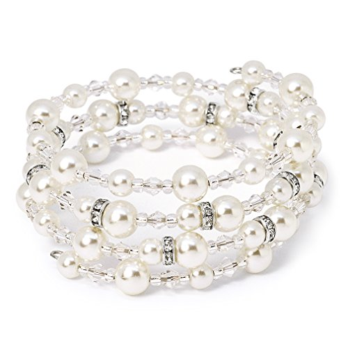 Wrap Around Pearl (Katie's Style Silvertone Bridal 4-Row Wraparound Coil Simulated Pearl and Crystal Bead Stretch Bracelet)