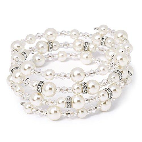 Wrap Bracelet Swarovski Around (Katie's Style Silvertone Bridal 4-Row Wraparound Coil Simulated Pearl and Crystal Bead Stretch Bracelet)