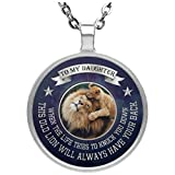Personalized To My Daughter Necklace Jewelry Love Dad - This Old Lion Will Always Have Your Back - Happy Birthday Gift For Daughter from Father Silver Plated Pendant Chain 20 inch