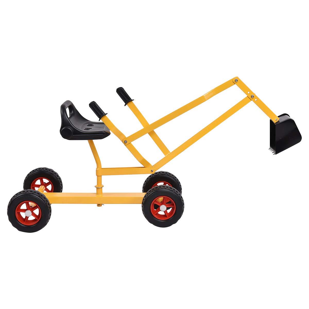 Costzon Kids Ride-on Sand Digger, Outdoor Sandbox Toy, Heavy Duty Steel Digging Scooper Crane (46-Inch Length, 4 Wheel, Yellow) by Costzon