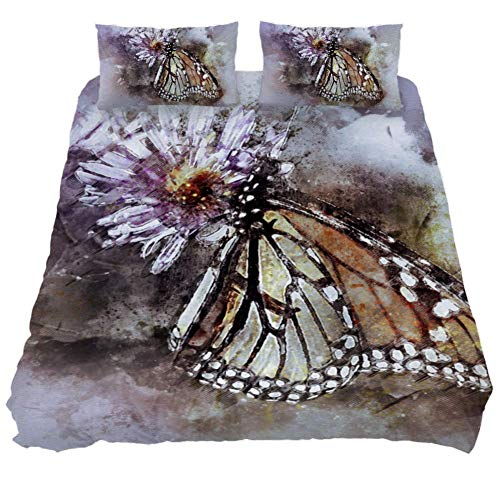 - LORVIES Butterfly Butterflies Monarch Duvet Cover Set, Piece - Microfiber Comforter Quilt Bedding Cover with Zipper, Ties, Decorative Bedding Sets with Pillow Shams for Men Women Boys Girls Kids Teens