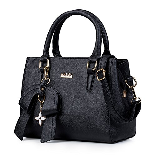 MINICE Handbag Women Top-handle bag, PU Leather Shoulder Bag with Bow(Black) by MINICE