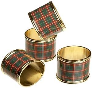 Christmas Tablescape Decor - Traditional Lenox Nouveau Plaid Napkin Rings - Set of 4