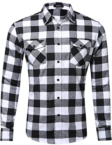 XI PENG Men's Dress Long Sleeve Flannel Shirt Thermal Plaid Checkered Jacket (Black White, X-Large)