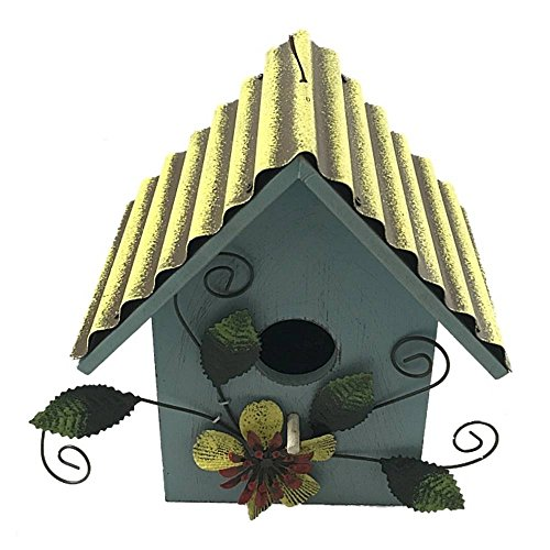 Wooden Bird House With Metal Roof and Metal Flower Decor 7 Inches Tall (Blue W/ Yellow (Blue Metal Roof)