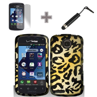 Rubberized Brown Gold Stars Snap on Design Case Hard Case Skin Cover Faceplate with Screen Protector and Stylus Pen for Pantech Marauder ADR910L - Verizon