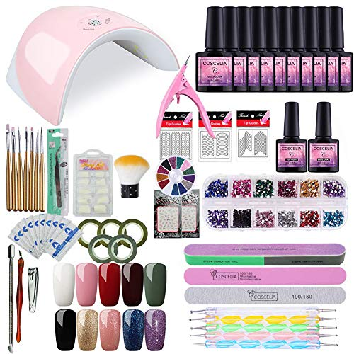 Nail Art Starter - Saint-Acior Gel Nail Polish Starter Kit with 36W Nail Light Manicure Tools UV Gel Polish 10 Colors
