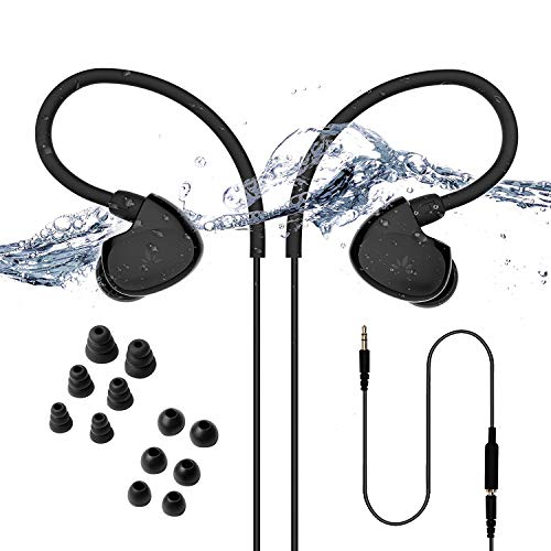 (Avantree TR509 Secure Fit Waterproof Earbuds for Swimming, Headphones for Running/Runners, Sports, Diving, Surfing, IPX7, Short Cord with Ear Hook and 6 Pair Soft Earbuds Tips (not)