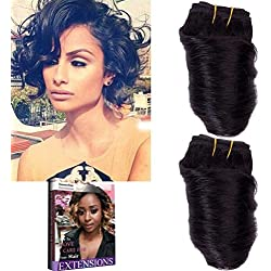 Emmet 8Inch Brazilian Loose Wave Spring Curly Hair Weaves for Bob Wave 2pcs/Lot 50g/pc 100% Human Hair Bob Wave Weft, with Hair Care Ebook (1#)