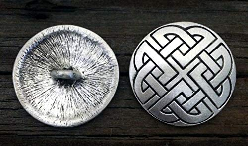 2 Celtic Shield Knot Pewter Shank Buttons 1 1/4 Inch (32 mm)