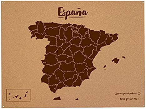 Miss Wood Mapa de España de Corcho, Pino, Marrón, XL-60x90cm ...