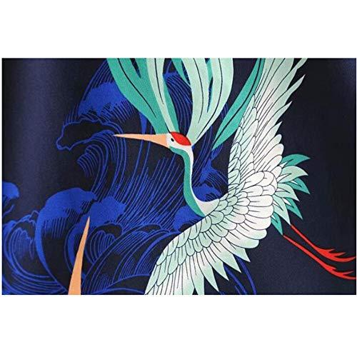 Meaeo Stile Photo Ornato Kimono nbsp; Camicia Manica nbsp; Femme Pigiama Camiciadonna Uccello Allentata Laterale Color Fessura D'epoca Lunghe Constampa nbsp;maniche Lunga A awarqSF