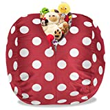 BeanBob Stuffed Animal Storage Bean Bag Chair in Red w/ Polka Dots – 2.5ft Large Fill & Chill Space Saving Toy Organizer for Children – For Blankets, Teddy Bears, Clothes & Bedding