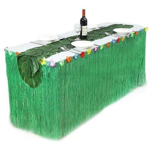 (9ft Hawaiian Luau Table Skirt Green Grass Raffia Table Skirt for Beach Luau Party Supplies,Moana Party Supplies Hula Skirt Table Cover with 12pcs 13