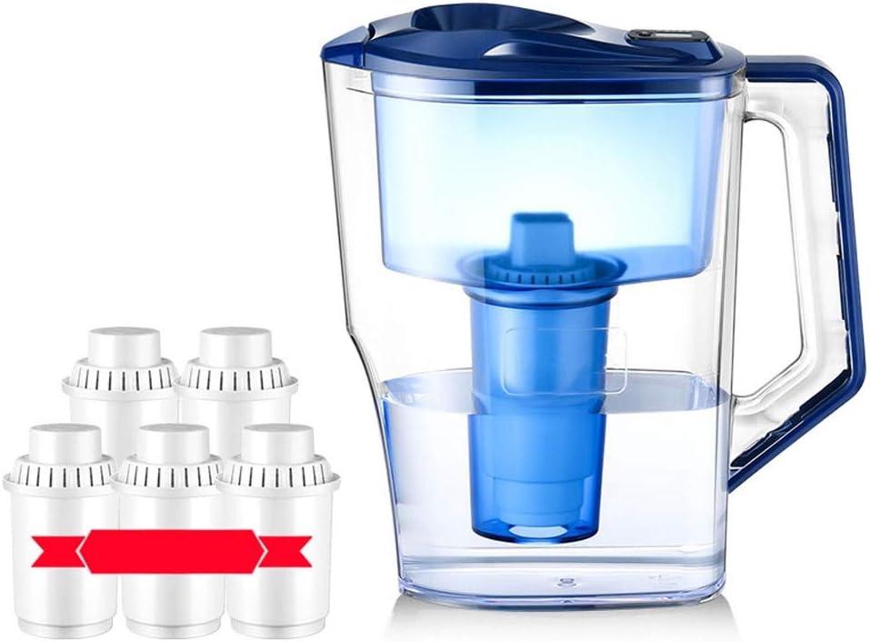 5フィルタークラシックホーム水フィルター水差し3.5L、ノンスリップハンドルとともに長続きろ過水ピッチャー、LEDタイミング表示BPAフリー、