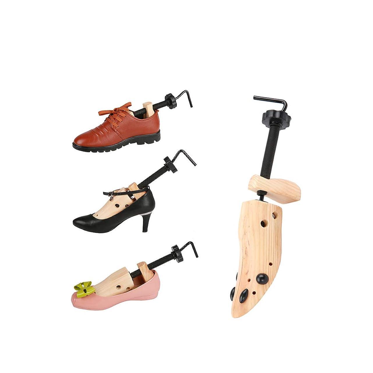 領事館キュービックひねくれた[Nowest] シューズストレッチャー シューキーパー 木製 靴伸ばし 両足セット 日本語説明書付き