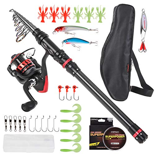Kit Telescopic Fishing (CAPACI Portable Telescopic Fishing Rod and Reel Combos Carbon Fiber Fishing Pole with Full Kits Carrier Bag for Travel Saltwater Freshwater (Newest Black Set with Improved Carried Bag, 1.8m / 5.91ft))