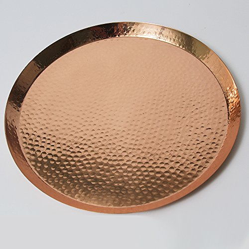 Large Contemporary Hammered Edge Pure Copper Circular Serving Party Tray - By Alchemade - 15 Inch Round Charger Platter Serving Dish - Edge Serving Tray