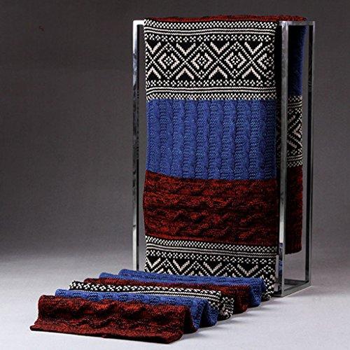 Generic Hommes Femmes Echarpe en Laine Cachemire Foulard d'Automne Hiver Chaud Mode - Bleu + Rouge, 200 * 33cm