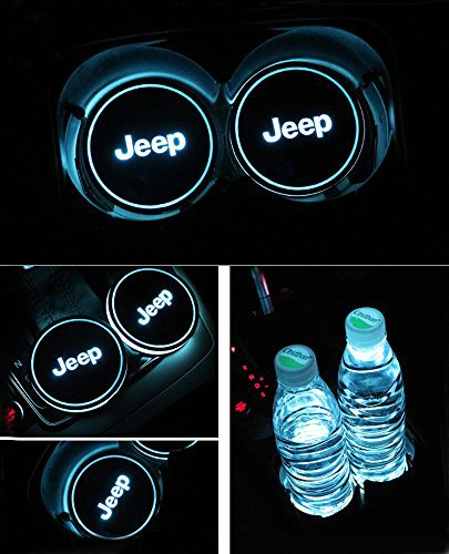 Bearfire Car Logo LED Cup Pad led cup coaster USB Charging Mat Luminescent Cup Pad LED Mat Interior Atmosphere Lamp Decoration Light (Jeep)