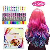 Hair Chalk, 12 Color Temporary Hair Chalk Hair Dye Pen Temporary Hair Color Temporary Non-Toxic Washable Hair Coloring Chalk for Girls, Party, Cosplay, Halloween Present by Estela