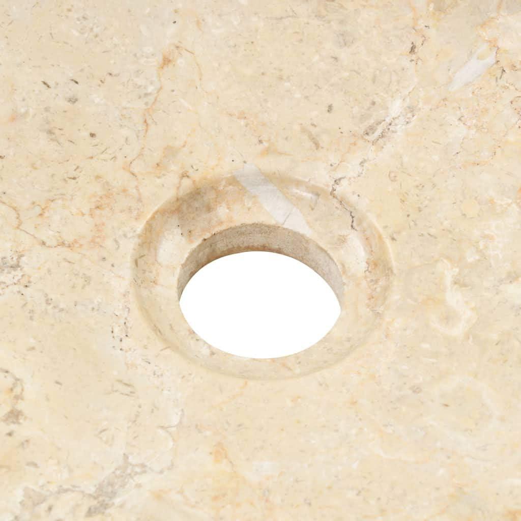Tidyard Marble Sink Countertop Wash Basin Sink Round 40 x 12 cm Cream