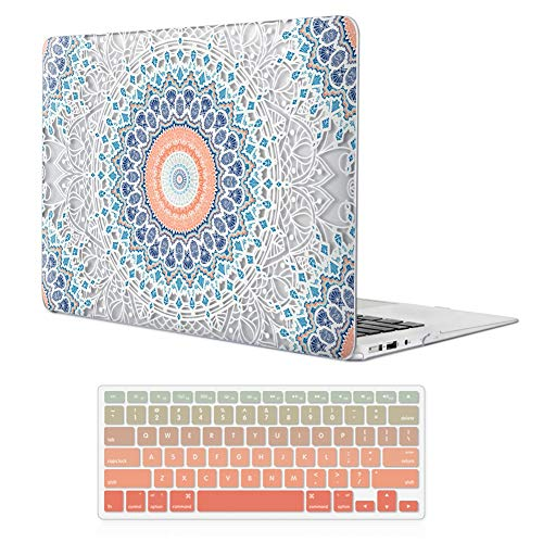 iCasso MacBook Air 11 inch Case Rubber Coated Glossy Hard Shell Plastic Protective Cover for MacBook Air 11 inch Model A1370/A1465 with Keyboard Cover (Mandala Lace)