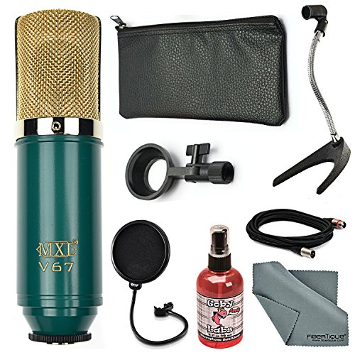 MXL V67G Large Capsule Condenser Microphone Bundle with Pop Filter+Mic Stand+Sanitizer+Cable+ FiberTique Cleaning Cloth