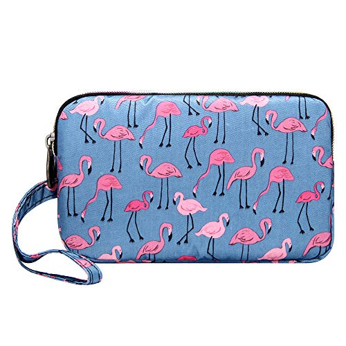 Small Printed Wristlet Clutch Phone Purse 3 Zippers Organizer Pouch