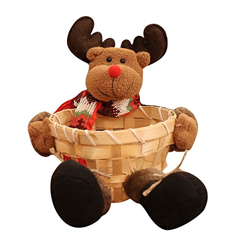 - Christmas Candy Storage Basket, Candy Cookies Food Holder Bamboo Basket Home Decoration Storage Basket Santa Claus Christmas Gift Basket (CCC)