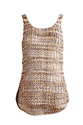 Girl\'s top knit, multicolors tape yarn, loose knit, light weight