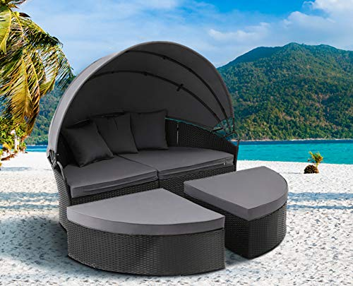 Solaura Outdoor Patio Round Daybed with Retractable Canopy and Black Wicker, Seating Separates Cushioned Seats with 3 Pillow
