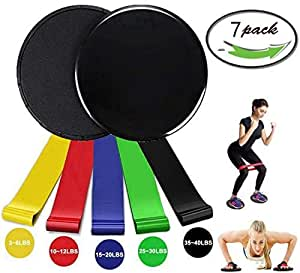 Resistance Loop Bands and Gliding Discs Core Sliders for Exercise Core Physical Therapy Sports Fitnes Set. Rapid Strength Training Dance Workout Pilates Muscle Shaping and Yoga