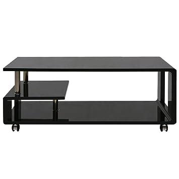 Festnight Hochglanz Tisch Couchtisch Beistelltisch Wohnzimmer Rechteck Weiß  Modern Schwarz