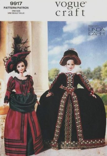 Amazon.com: Vogue 9917 Fashion Doll Historical Costumes Sewing ...