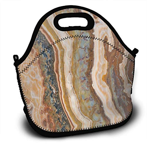 Neoprene Insulated Lunch Bag Cooler Lunch Box Waterproof Lunch Tote Bag - For Women, Teens, Girls, Kids, Adults - Agate Marble Patterns Limestone Minerals Form Watercolor Ink Texture